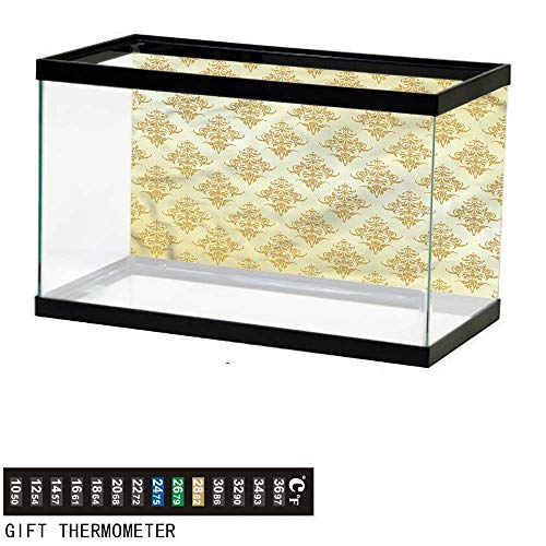 Suchashome Fish Tank Backdrop Mustard,Victorian Damask Petals,Aquarium Background,36