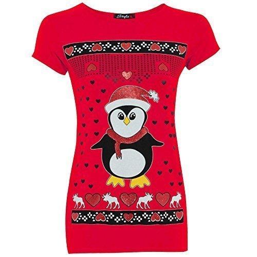 Be Jealous Damen Weihnachten Glitzer Olaf Rentier Batman Pinguin T-shirt Oberteile
