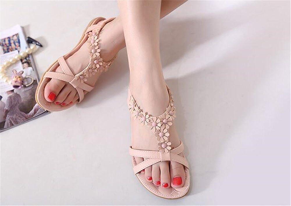 LYLIFE Women Summer Bohemia Flat Sandals Flower Beads Beach Flip-Flop Shoes