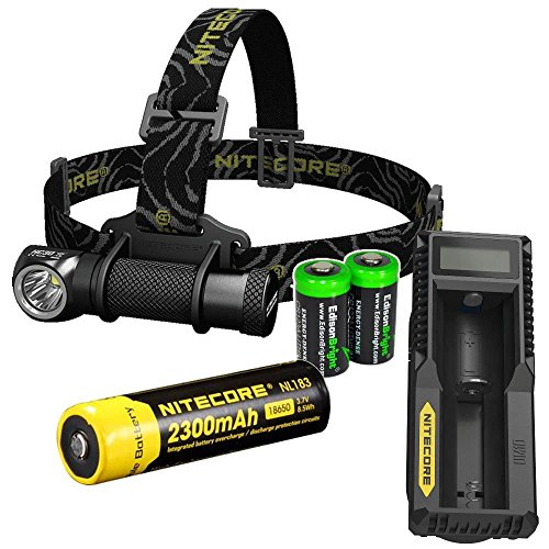 Nitecore HC30 1000 Lumens CREE XM-L2 U2 LED dual-form headlamp with Genuine Nitecore NL183 18650 Li-ion rechargeable battery,Nitecore UM10 Charger and Two EdisonBright CR123A Lithium Batteries