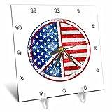 3dRose Andrea Haase Patriotic Art - America Patriotic Typography National Holiday Celebration On Blue - 6x6 Desk Clock (dc_282635_1)
