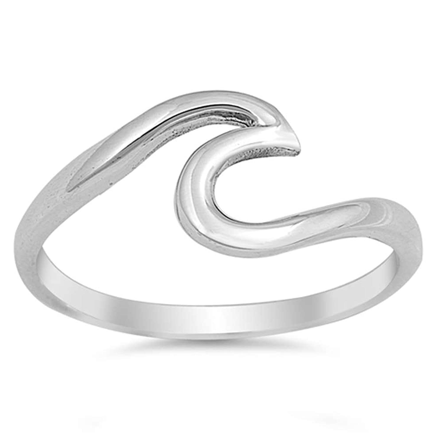 Amazon.com: Wave Design .925 Sterling Silver Ring Sizes 2-12 ...
