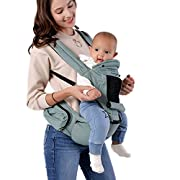 All-in-One Baby Carrier with Detachable Hip Seat, Ventilated Carrying Sling Wrap Baby Backpack Carrier for Nursing Hiking, Wind & Sun Protection for Four Seasons General by Siyoo (Cyan)