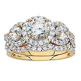 10k Yellow Gold 2 Piece Round White Cubic Zirconia Halo Wedding Ring Set Size 7