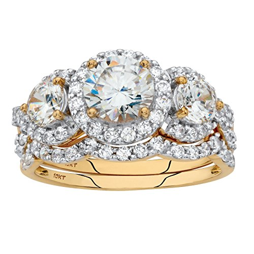 10k Yellow Gold 2 Piece Round White Cubic Zirconia Halo Wedding Ring Set Size 8 10k Gold Set