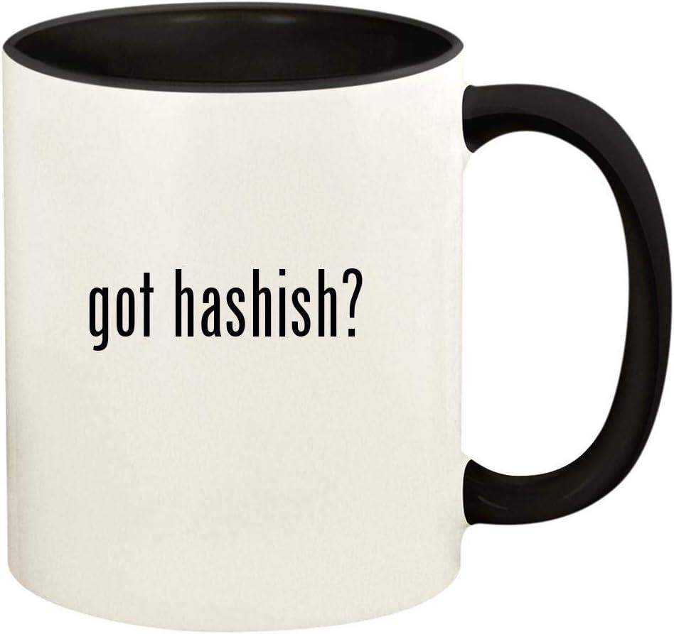 got hashish? - 11oz Ceramic Colored Handle and Inside Coffee Mug Cup, Black