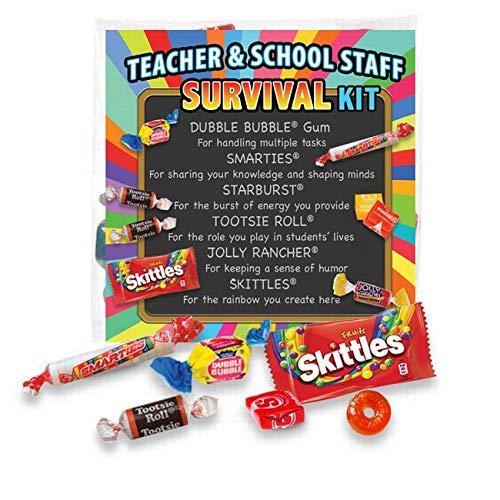 Fun Kits Survival - Teacher Appreciation & School Staff Survival Kits (6 per Set) Fun Candy Treat Goody Bag Gift Kit Idea for Teacher Appreciation Week