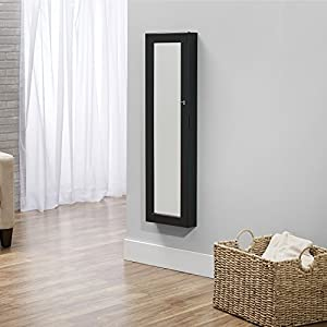 Deluxe Mirrored Jewelry Armoire, Black