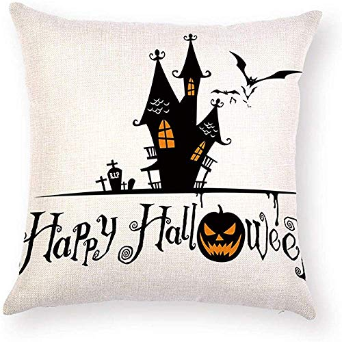 Fhdang Decor Lovely Fashion Funny Cross RIP Castle Halloween Pillow Case Cushion Cover Protector Bat Pumpkin Sayings Happy Hallowee Pillowcsse Square 18 x 18 inch for Couch Sofa