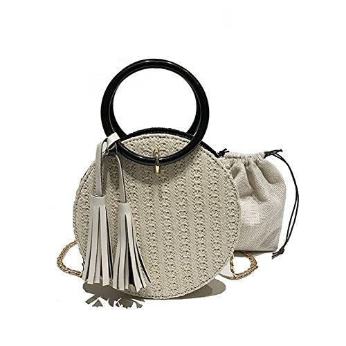 Money Lady Handbag For Straw Majome Beige Round Bag Smartphone Women's Cards Crossbody Coin Shoulder wI1TqfpTv