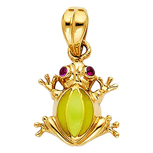 (Jewels By Lux 14K Yellow Gold Frog Pendant 13mm X 13mm)