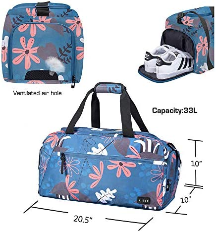 Rotot Sport Duffel Bag, Gym Bag with Waterproof Shoe Pouch, Weekend Travel Bag with a Water-resistant Insulated Pocket (33L)