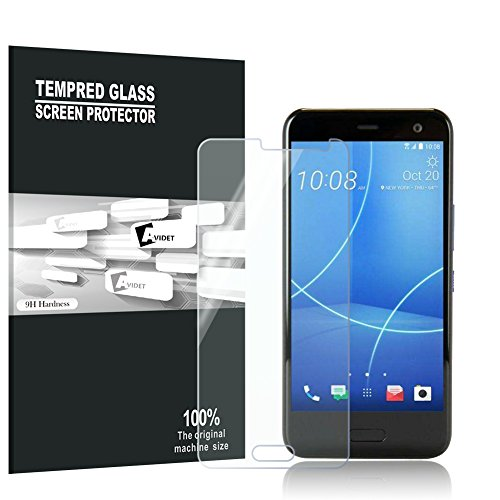 HTC U11 Life Screen Protector, AVIDET 9H Hardness Premium Tempered Glass Screen Protector for HTC U11 Life (2-Pack)
