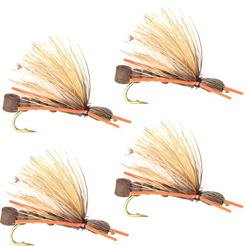 The Fly Fishing Place Brown Foam Body Salmonfly Trout Dry Fly Fishing Flies with Orange Rubber Legs - Set of 4 Flies Size (Brown Fly)
