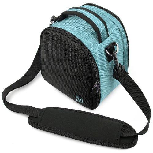 VanGoddy Laurel Carrying Bag for Nikon 1 J5 / Nikon 1 V3 / Nikon 1 J4 / Nikon 1 AW1 Mirrorless Digital Cameras + Mini Tripod + Screen Protector (Sky Blue)