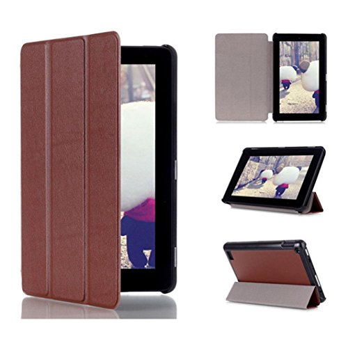 Price comparison product image Amazon Kindle Fire 7inch 2015 Case,Sunfei Tri-Fold Leather Stand Case Cover for Amazon Kindle Fire 7inch 2015 (Brown)