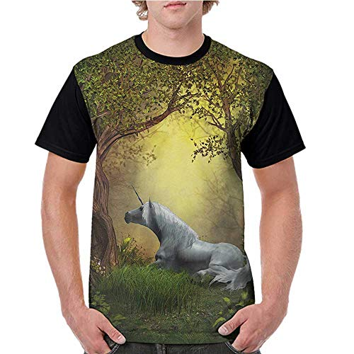 Womens Raglan Baseball T-Shirt,Unicorn,Enchanted Forest Fantasy Magical Willow Trees Wildflowers Woodland Animal Folklore,Green White S-XXL Printed Crew Neck Casual Tee Tops