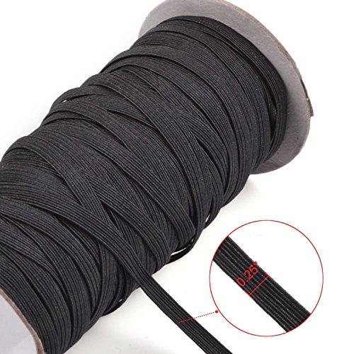 kloud-city-black-70-yards-length-1-4-width-braided-elastic-cord-elastic-band-elastic-rope-bungee-bla