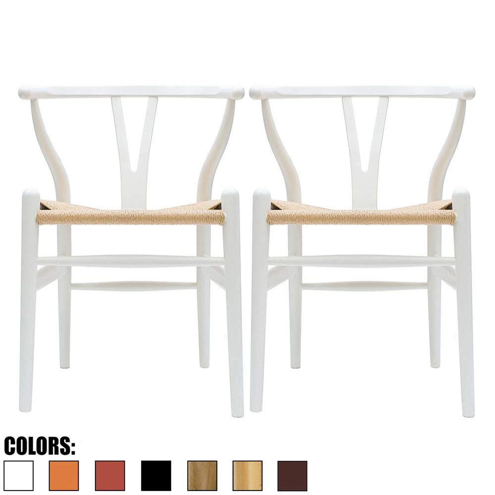 2xhome Set of 2 White Wishbone Wood Armchair with Arms Open Y Back Open Mid Century Modern Contemporary Chair Dining Chairs Woven Seat Brown Living Desk