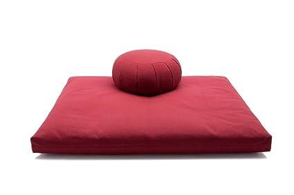 Burgundy Kapok Zafu & Cotton Zabuton Meditation Cushion Yoga Pillow 2 pc Set