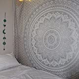 """Exclusive """" Orignal Silver Ombre Tapestry by Labhanshi"""" , Mandala Tapestry, Twin Indian Mandala Wall Art Hippie Wall Hanging Bohemian Bedspread"""