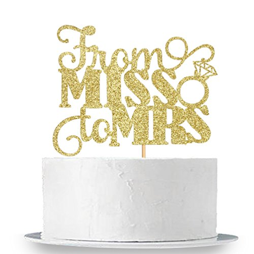 Gold Glitter From Miss To Mrs Cake Topper - Bridal Shower Party Decorations -