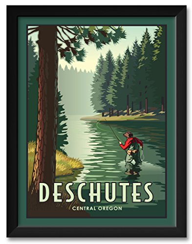 Deschutes River Fly Fishing Framed Art Print by Paul Leighton. Print Size: 18