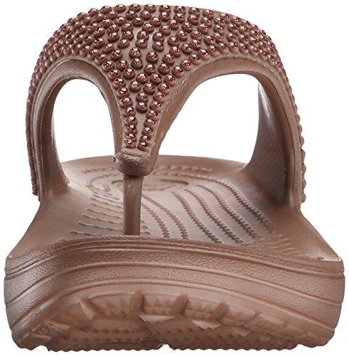 945a1a6157955 Crocs Sloane Diamante Flip W - sandalias con plataforma y cuña Mujer Bronze  ...