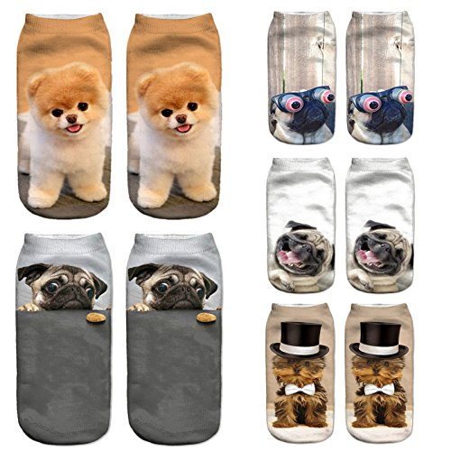 Cute Printed Puppy Dogs Pet Socks 3D Animal Cartoon Cotton Short Funny Harajuku Ankle Socks Male Female Fashion-Gift for Women Child Boys Girls-Boo Pug-Cookie Crazy-Pug Laughter-Pug York-Cylinder (Printed Custom Cookies)