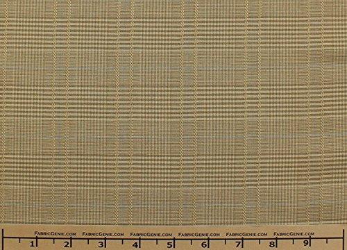 Fabric Plaid Glen (Glen Plaid Plaid Suiting Fabric, Stretch Suiting Fabric-TAN/BLUE - 2 Yards Bolt)