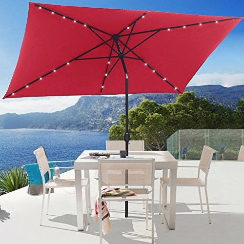 10 ft Rectangular Solar Powered Umbrella Iron Steel 26 LED Lighted Push Button Auto Tilt Crank Adjustment System Deluxe for Shade Outdoor Market Backyard Patio Table Deck Poolside Red (Rectangular Shaped Panels)