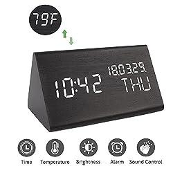 Digital Alarm Clock, Wooden LED Alarm Clock Triple Alarms, 3 Levels Brightness Dimmer, Big Digit Display Date, Week Temperature Home Bedrooms