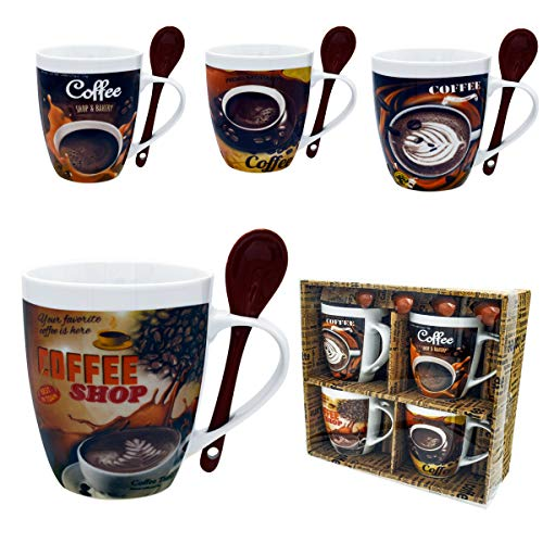Mugs Set 4 Coffee Mug and Spoon Combo Porcelain Set Beautifully Gift Boxed A Great Gift Set for home or office
