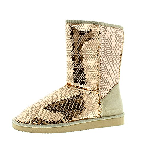 Gold Sequin Boots (385 FIFTH Women's Tilly Metallic Bling Sequin Sparkle Faux Suede Fur Lined SlipOn Boot Rose Gold 8 M US)