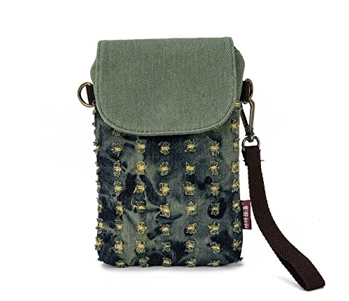 (Small Crossbody Purse Canvas Cell Phone Bag Wallet Women Girls Wristlet Handbag Loose Change Pouch with Flap Zipper for iPhone X 8 7 Plus 6S 5S Samsung Galaxy S8+ S7)