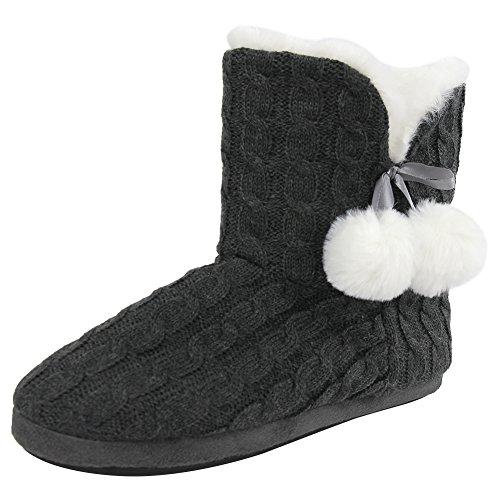 Pantofola Casa Donna Morbida Pile Caldo Peluche Casa Coperta Stivali Scarpe Taupe / Pom-pom