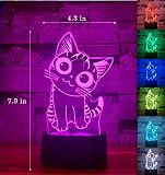 Cherish tea Cat 3D Illusion Night Light 7 Colors