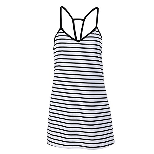 FUNOC® Women Sleeveless Party Dress Evening Cocktail Casual Mini Dress, Black & White, Small