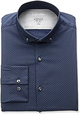 Calvin Klein Men's Stretch Xreme Slim Fit Print Buttondown Collar Dress Shirt