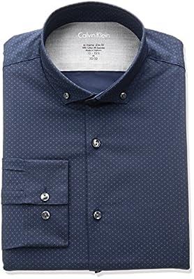 Calvin Klein Men's Stretch Xreme Slim Fit Print Buttondown Collar Dress Shirt