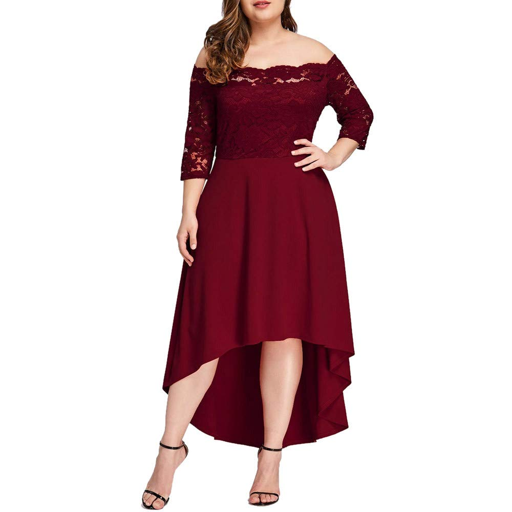 18e75fbad09 Amazon.com  Womens Plus Size Boho Lace Off Shoulder Long Dress Casual 3 4 Sleeve  Irregular Cocktail Party Dresses Beach Sundress  Clothing