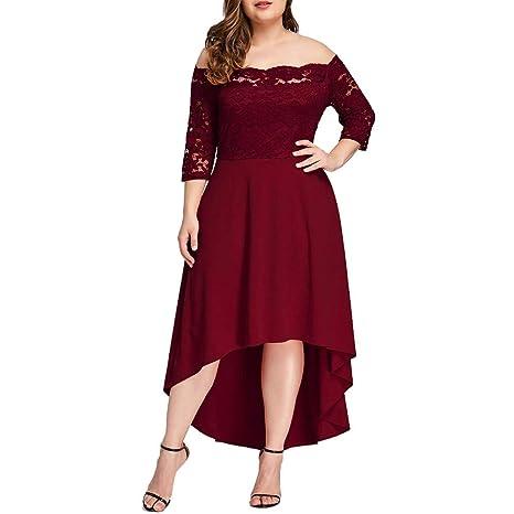 Weant Vestito Lungo Donna Elegante Cerimonia Taglie Forti Rosso Vestito A-Linea  Abito Retro Abiti Donna Ragazza Estivi Abiti Donna Abiti Lunghi Abito Lungo  ... 94e7dd74639