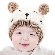 IMLECK Cute Kids Girl Boy 3D Bear Modeling Dual Balls Warm Winter Knitted Hat Beanie