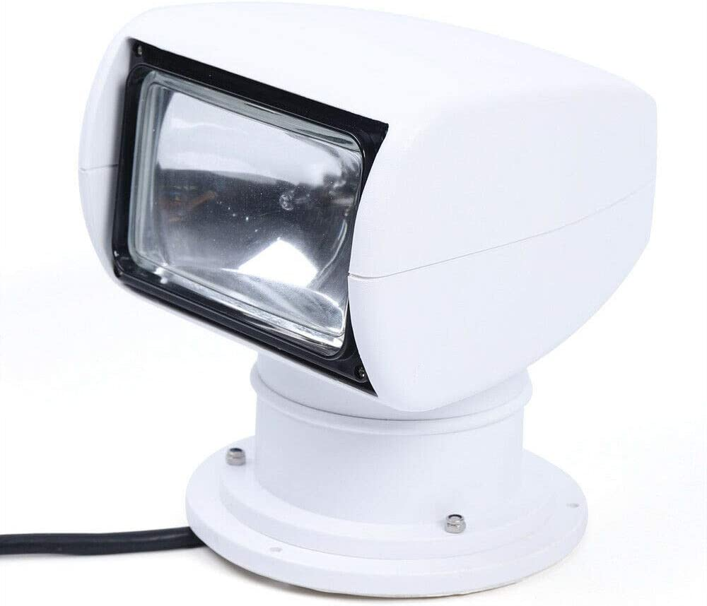 USA Stock LYNICESHOP Boat Remote Control Spotlight Marine Boat Car Truck Remote Searchlight 12V 100W Bulb Search Work Light RC DC 2500LM