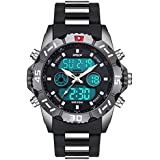 HPOLW Imported Big Face Analog Digital Black Silver Multifunction Sports Watch for Men & Boys