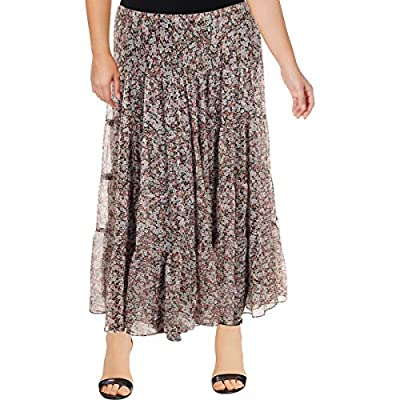 Lauren Ralph Lauren Womens Plus Moriah Floral Print Ruffle Maxi Skirt