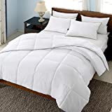 Alternative Comforter - REST SYNC White Goose Down Alternative Comforter Duvet Insert, Peach Skin Fabric, King Size, White