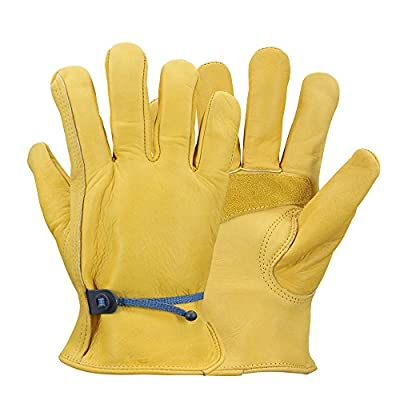 Work gloves Leather Gardening Glove with Ball and Tape Wrist Closure, Garden Gloves,Flex & Good Grip for Logging/Wood Cutting/Forest Work/Driving - Perfect Fit for Men & Women
