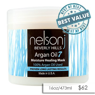 Nelson j Beverly Hills Argan Oil 7 Moisture Healing Mask - Scent: Coconut 16 oz (Scent: Coconut) by Nelson j Beverly Hills (Image #3)