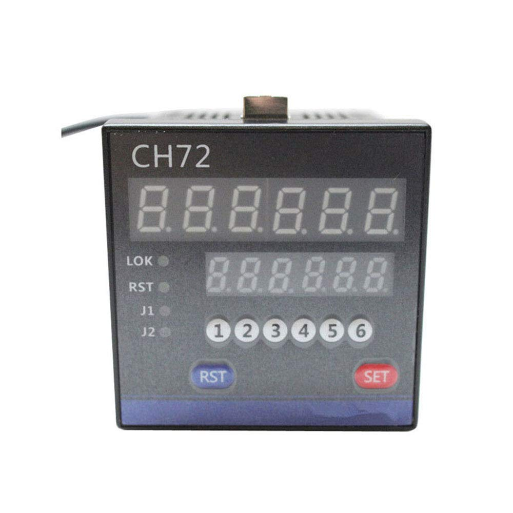 Digital Meter Counter Multi-Functional Dual LED Display Digital Counter,Digit Resettable Mechanical Pulling Counter Blue